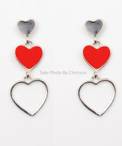 ต่างหูรูปหัวใจ ดำ แดง ซ้อน 3 ดวง-104-1