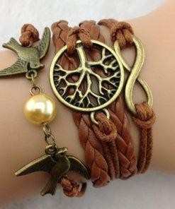กำไลข้อมือสายหนัง รูปนกไข่มุกทอง ต้นไม้ -002-1