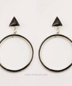 ต่างหูทรงสามเหลี่ยม-ห้อยวงกลมสีดำ-073-1