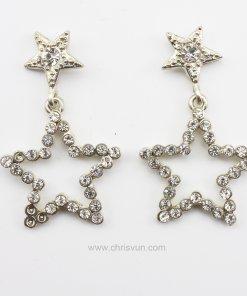 ต่างหูรูปดาว สองดวง ปักด้วยเพชร-079-1