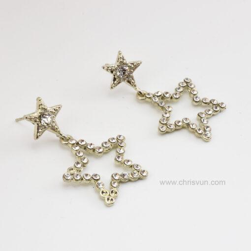 ต่างหูรูปดาว สองดวง ปักด้วยเพชร-079-3