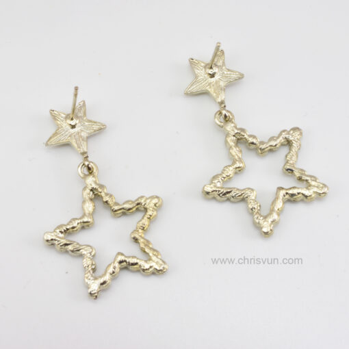 ต่างหูรูปดาว สองดวง ปักด้วยเพชร-079-4