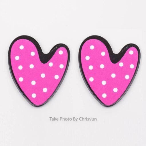 ต่างหูแบบแป้น รูปหัวใจชมพู-111-1