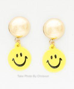 ต่างหูแป้น รูปหน้ายิ้มสีเหลือง-156-3