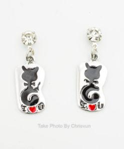 ต่างหูแบบห้อย จี้แผ่นเงินลายแมวสีดำ-184-3