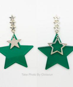 ต่างหูห้อยรูปดาวสีเขียว-198-1