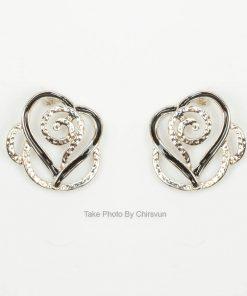 ต่างหูแบบแป้น รูปหัวใจทรงดอกไม้-209-3