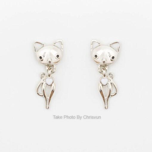 ต่างหูเงิน รูปแมว-216-3
