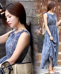 Maxi Dress พิมพ์ลายสีฟ้า-160-10