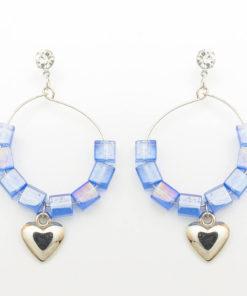 ต่างหูห้อย จี้ห่วงหินสี รูปหัวใจ-279-1