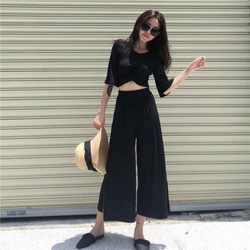เสื้อเอวลอย + กางเกงขายาวทรงหลวม-308-9