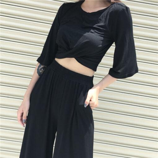 เสื้อเอวลอย + กางเกงขายาวทรงหลวม-308-5