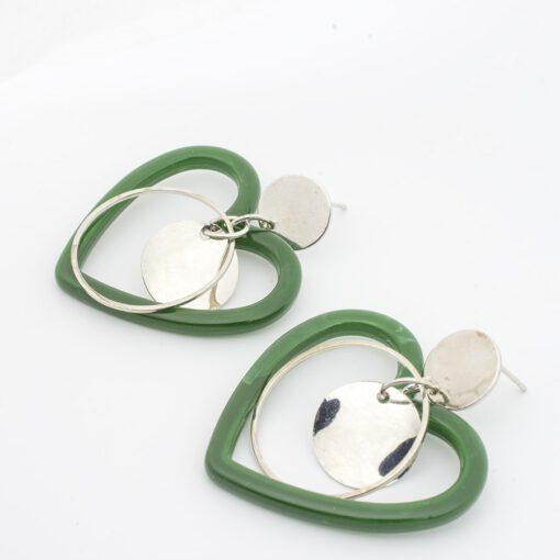 ต่างหูห้อยหัวใจสีเขียว-368-2