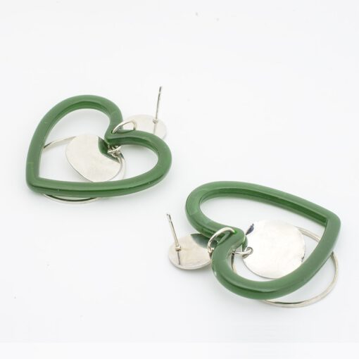 ต่างหูห้อยหัวใจสีเขียว-368-3
