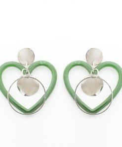 ต่างหูห้อยหัวใจสีเขียว-368-1