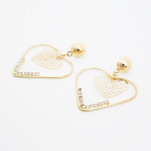ต่างหูแบบห้อยรูปทรงหัวใจสีทอง-379-2