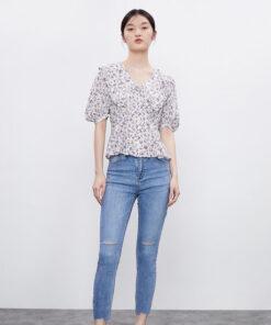 เสื้อเชิ้ต คอจีบ ลายดอกไม้-843