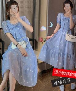 เดรสเกาหลีสีฟ้าแบบยาว-844